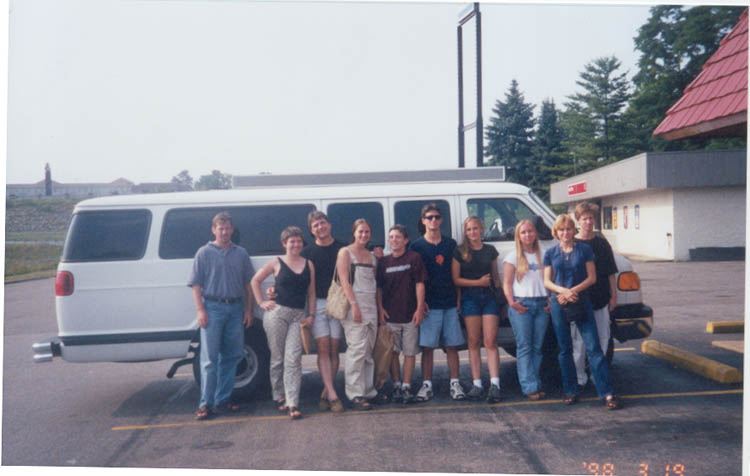 Everyone infront of the karate bus in July for our Kentucky Trip